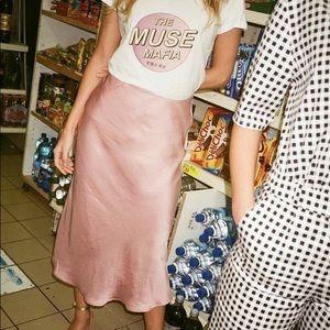Topshop Pink Satin Midi Skirt